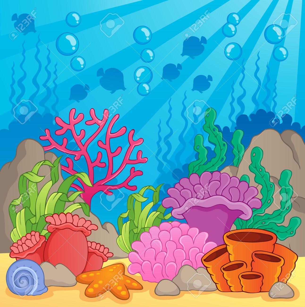 Arrecife De Coral Tema Image 3 - Ilustración Vectorial Ilustraciones ...
