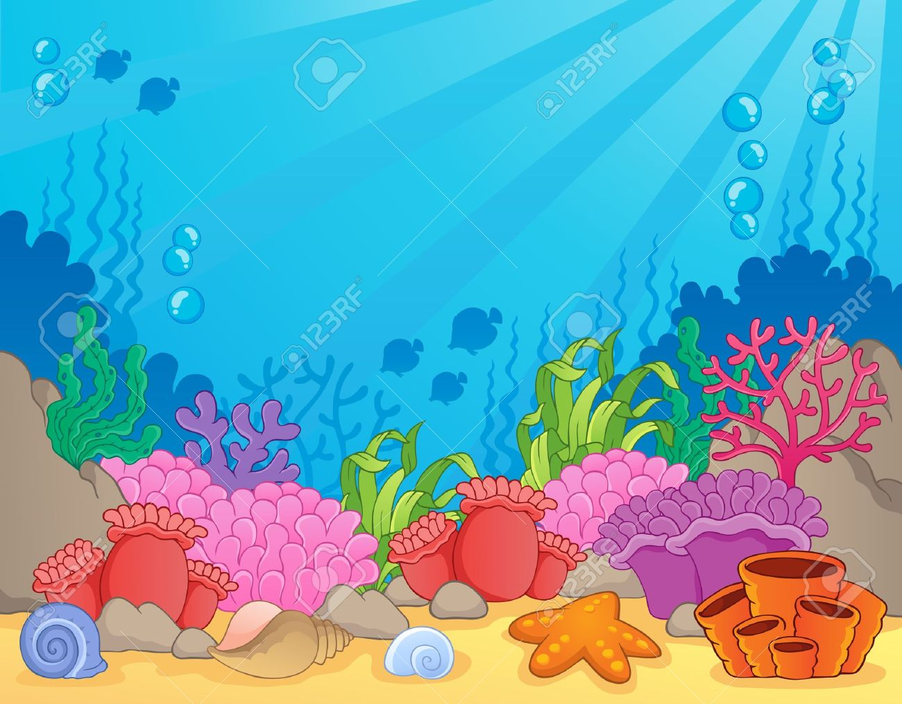 coral reef theme image 4 vector illustration royalty free cliparts