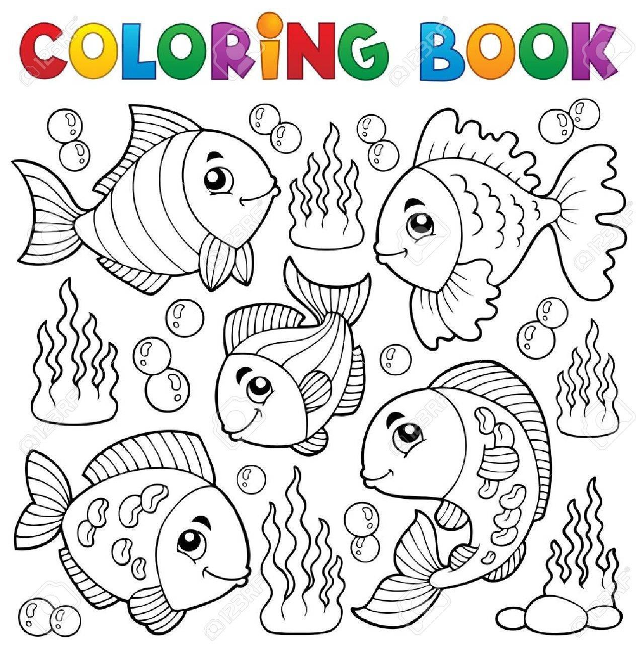 Coloring Book Various Fish Theme Stock Vector