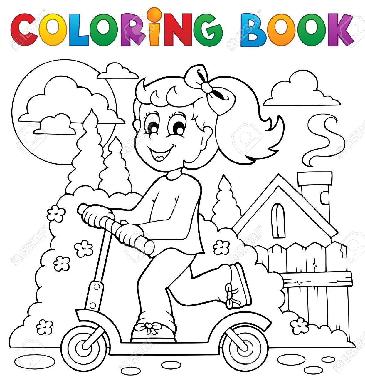 Coloring Book Kids Play Theme Royalty Free Cliparts, Vectors, And ...