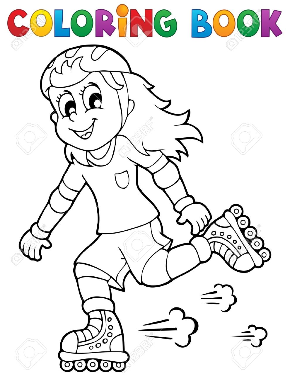 Free roller skating coloring pages - Roller Skating Coloring Book Outdoor Sport