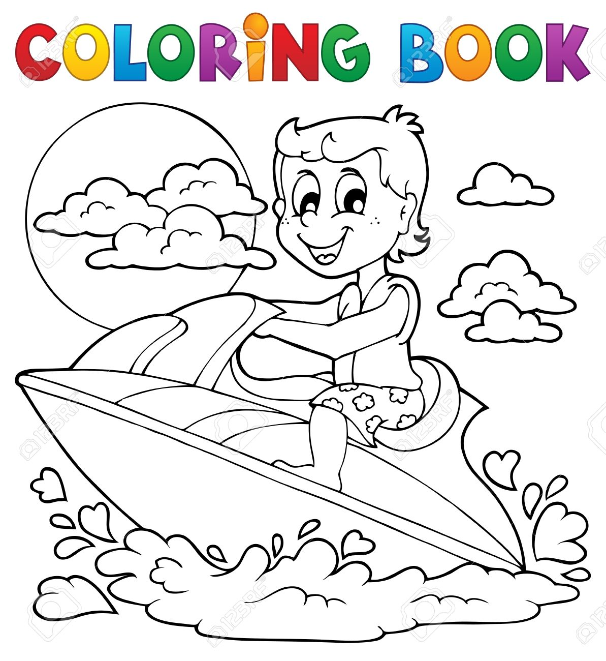 Coloring Book Water Sport Stock Vector