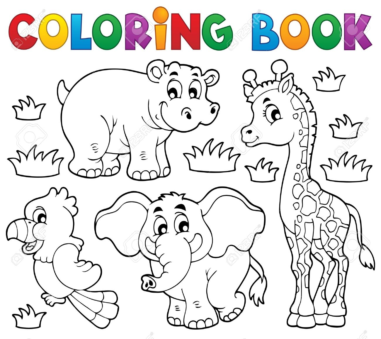 Coloring Book African Fauna 1 Royalty Free Cliparts, Vectors, And ...