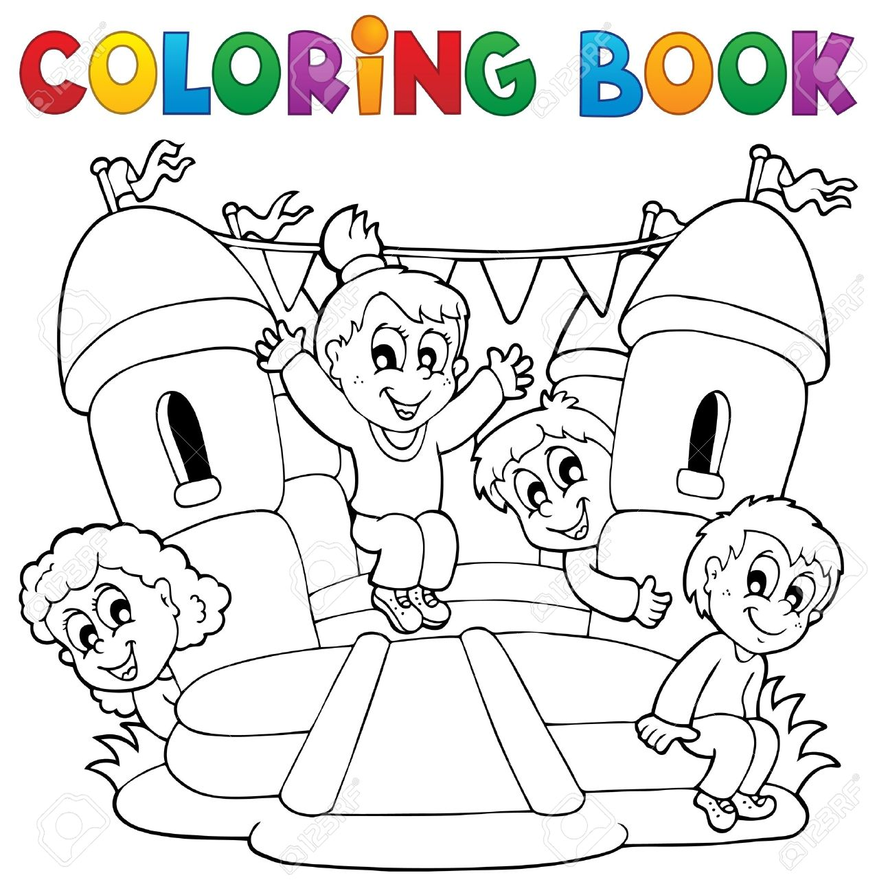 Coloring Book Kids Play Theme 5 Stock Vector