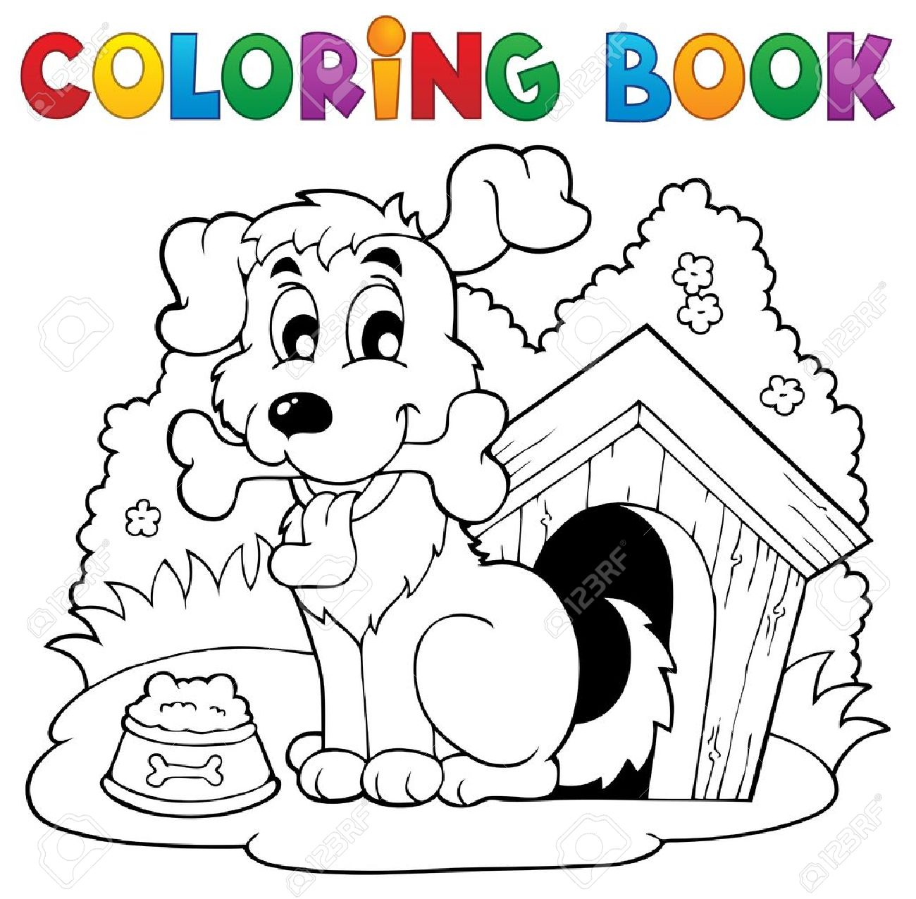 Coloring Book Dog Theme Royalty Free Cliparts, Vectors, And Stock ...