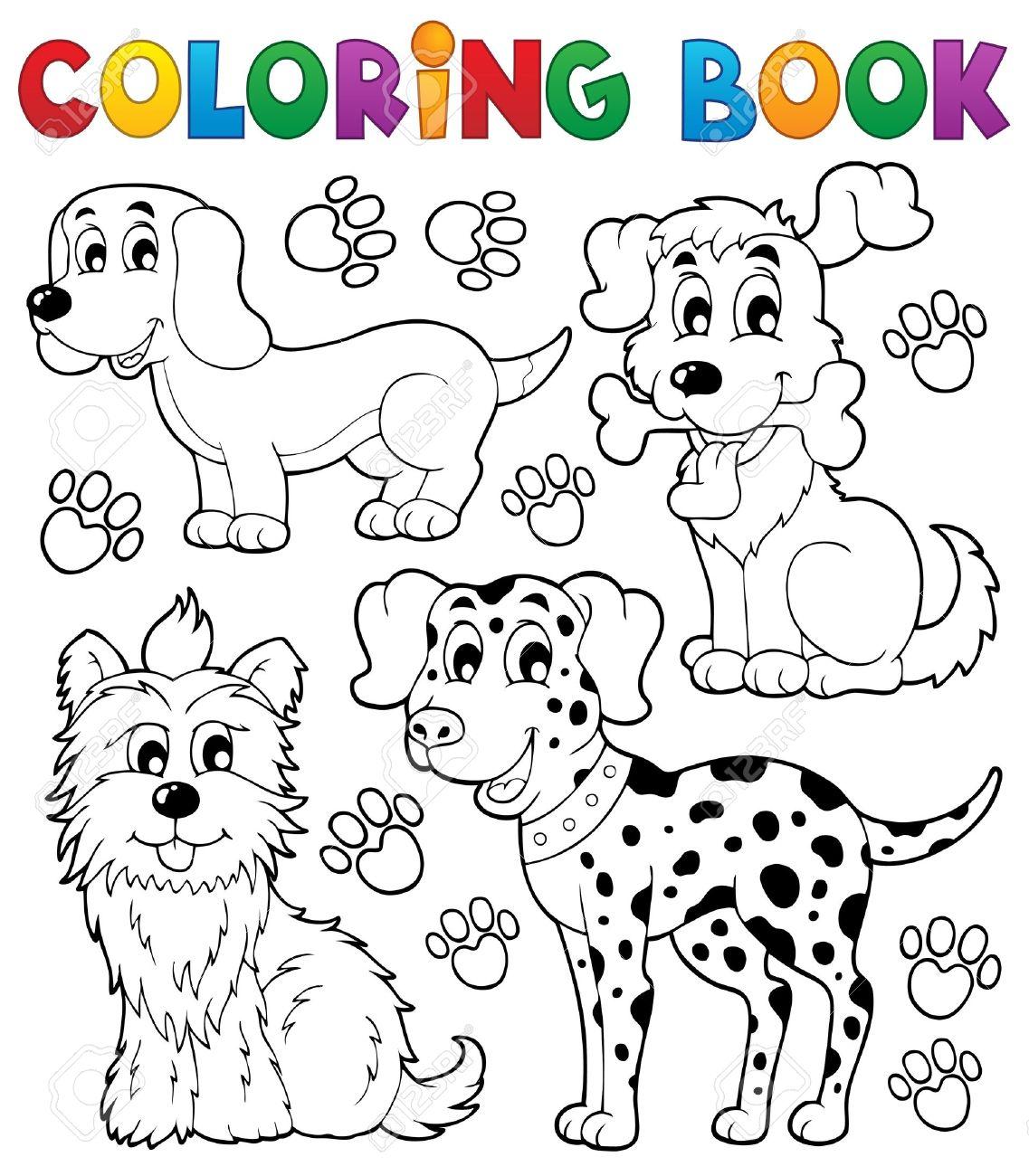 Coloring Book Dog Theme Stock Vector