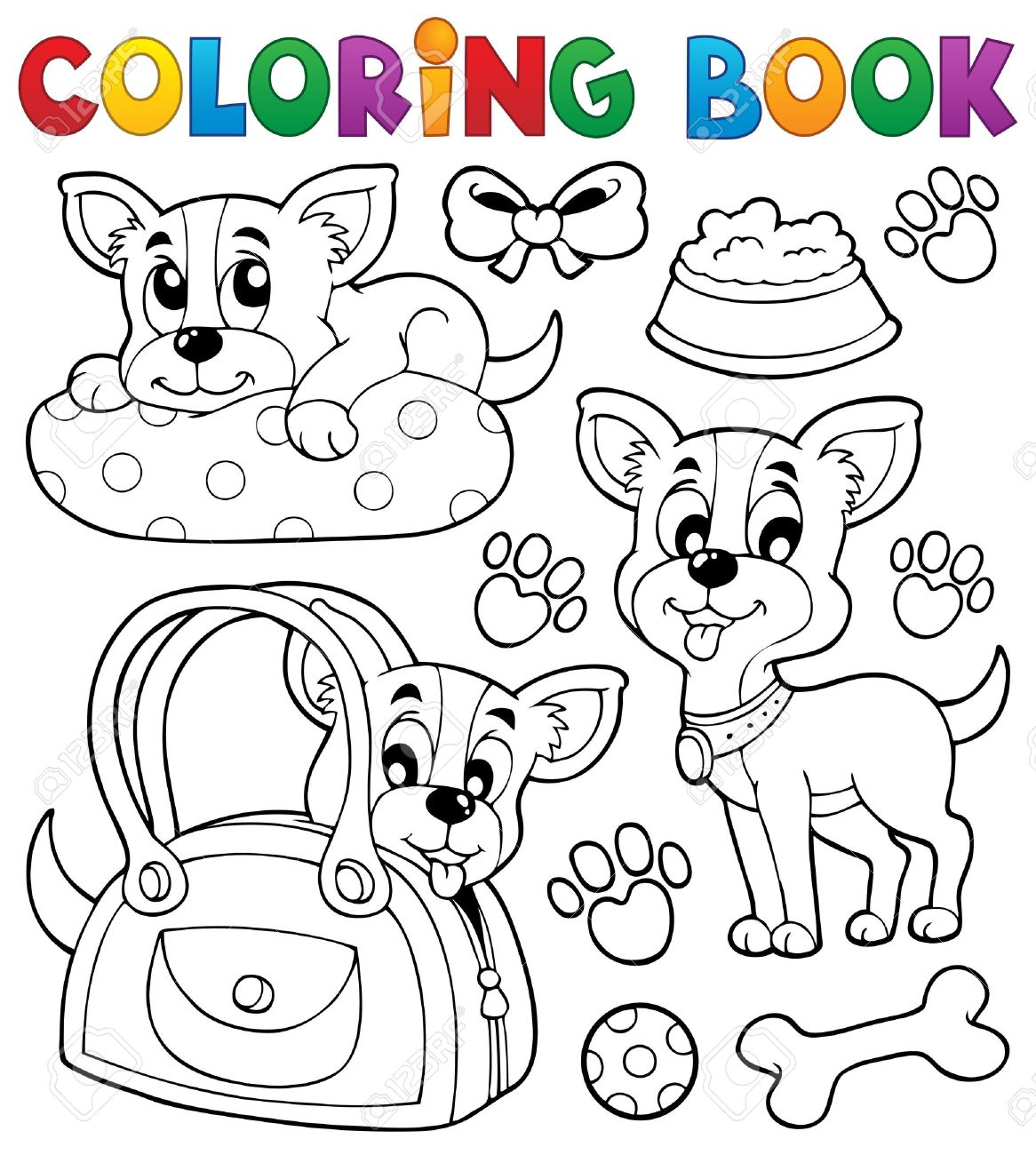 coloring book dog theme royalty free cliparts vectors and stock