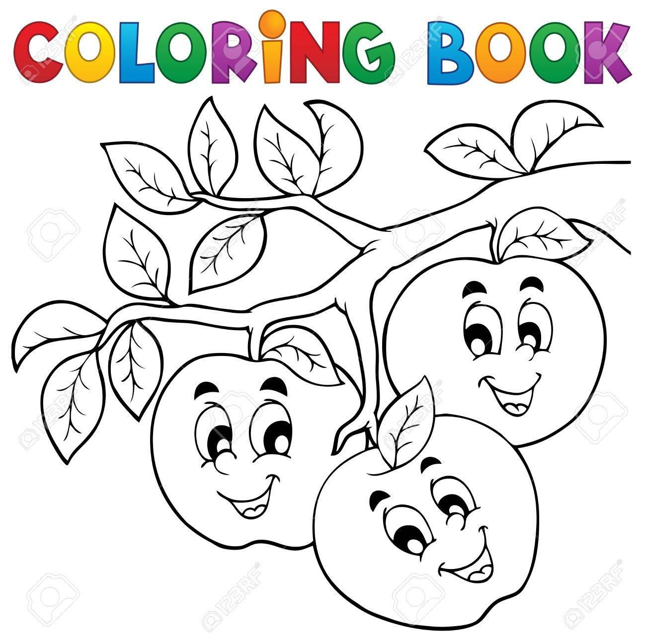 Coloring Book Fruit Theme Stock Vector