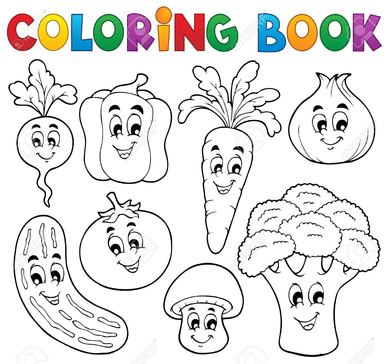 Coloring Book Vegetables Theme Stock Vector