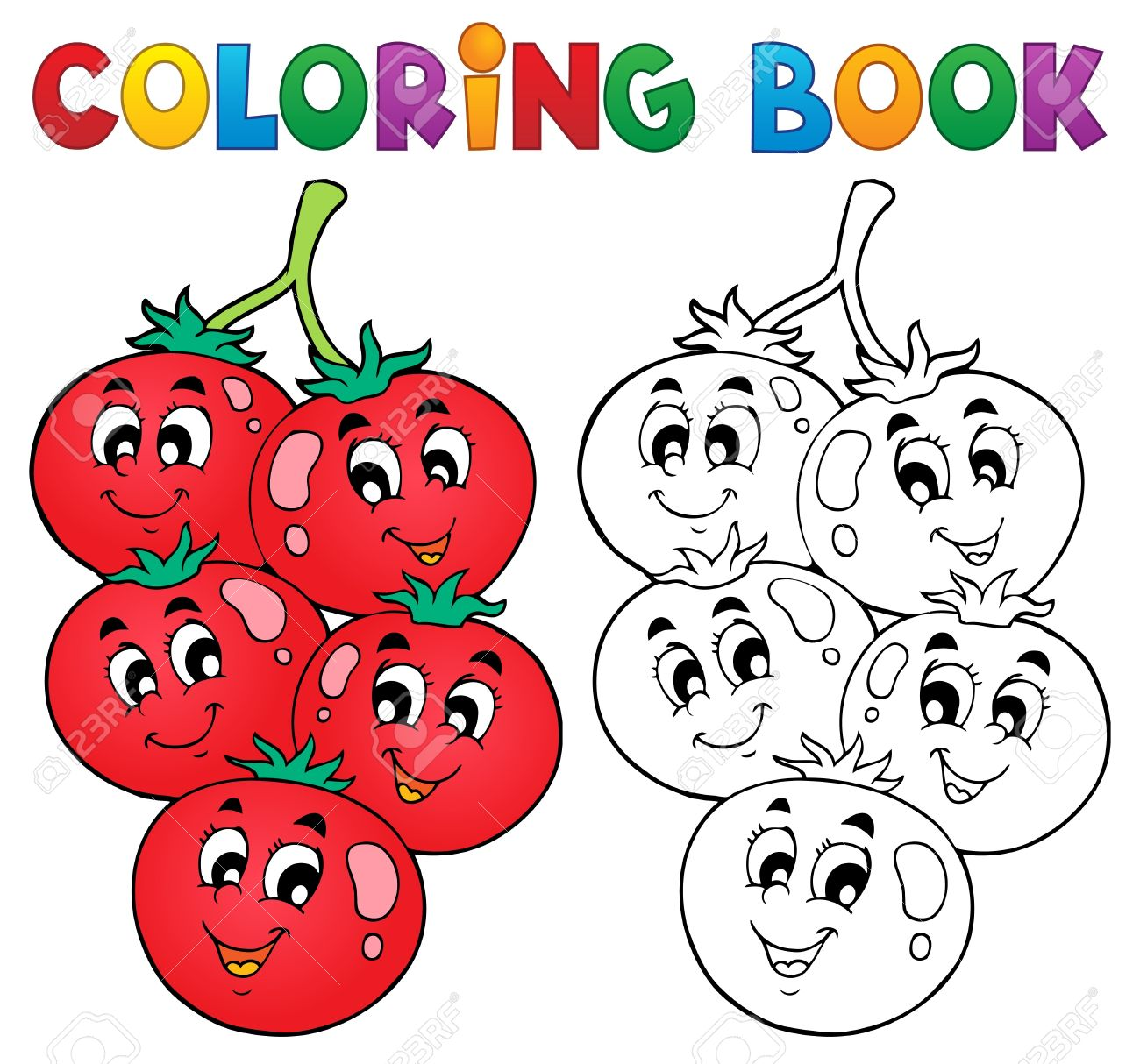 Coloring Book Vegetable Theme Royalty Free Cliparts, Vectors, And ...
