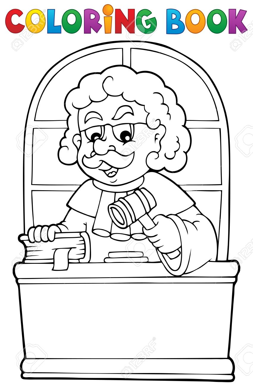 trial court coloring book judge theme