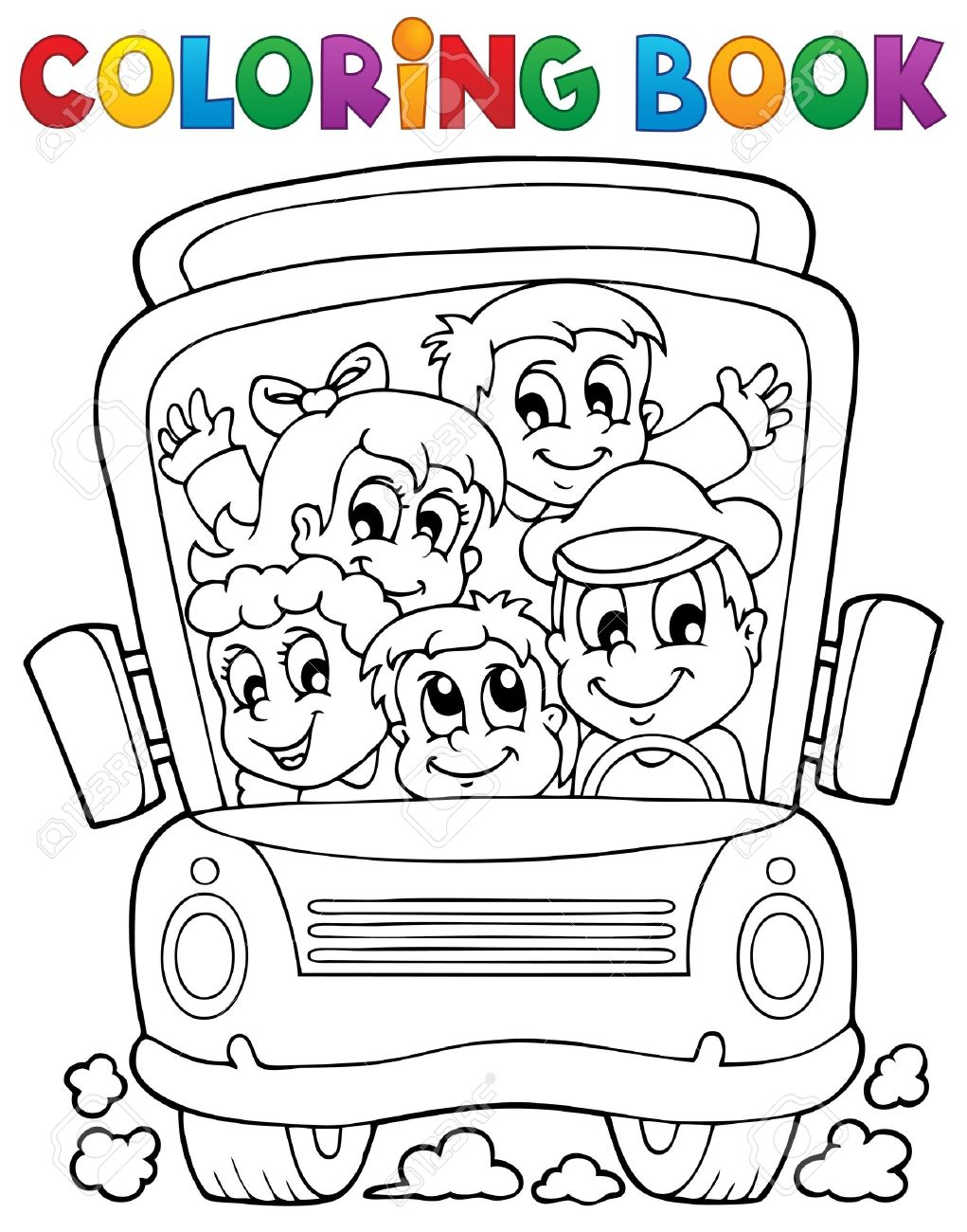 Coloring book school - Coloring Book School Bus Theme Stock Vector 21055338
