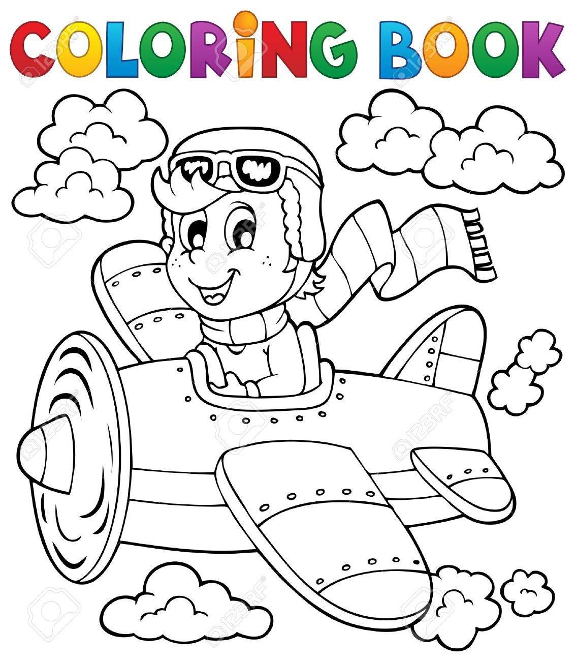 Libro Para Colorear Avión Ilustraciones Vectoriales, Clip Art ...