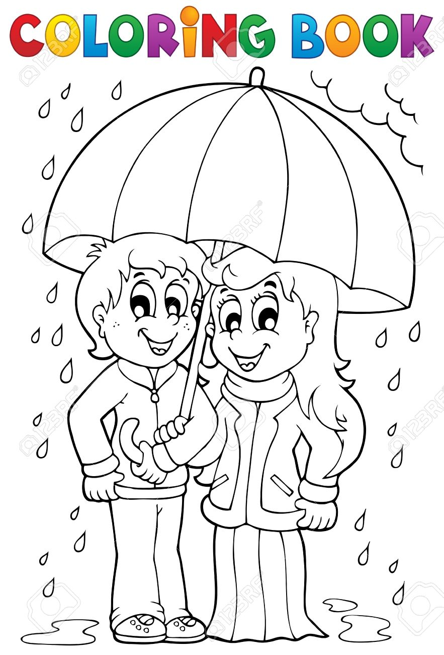 Coloring Book Rainy Weather Stock Vector