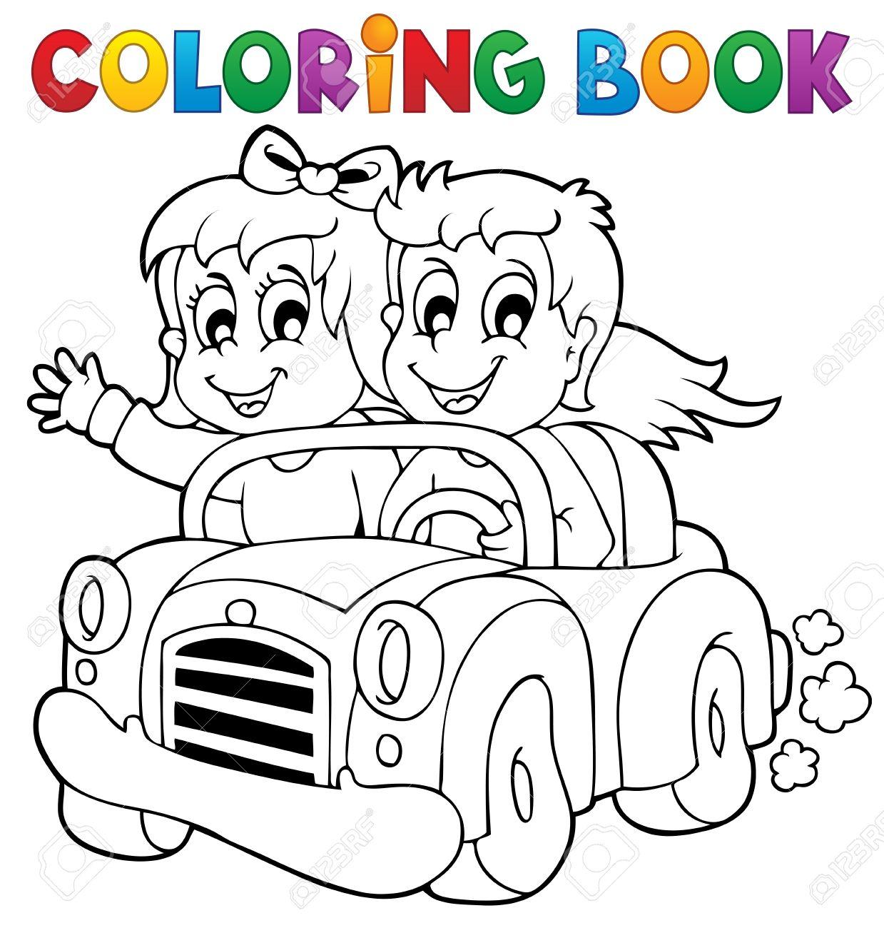 Coloring Book Car Theme Stock Vector