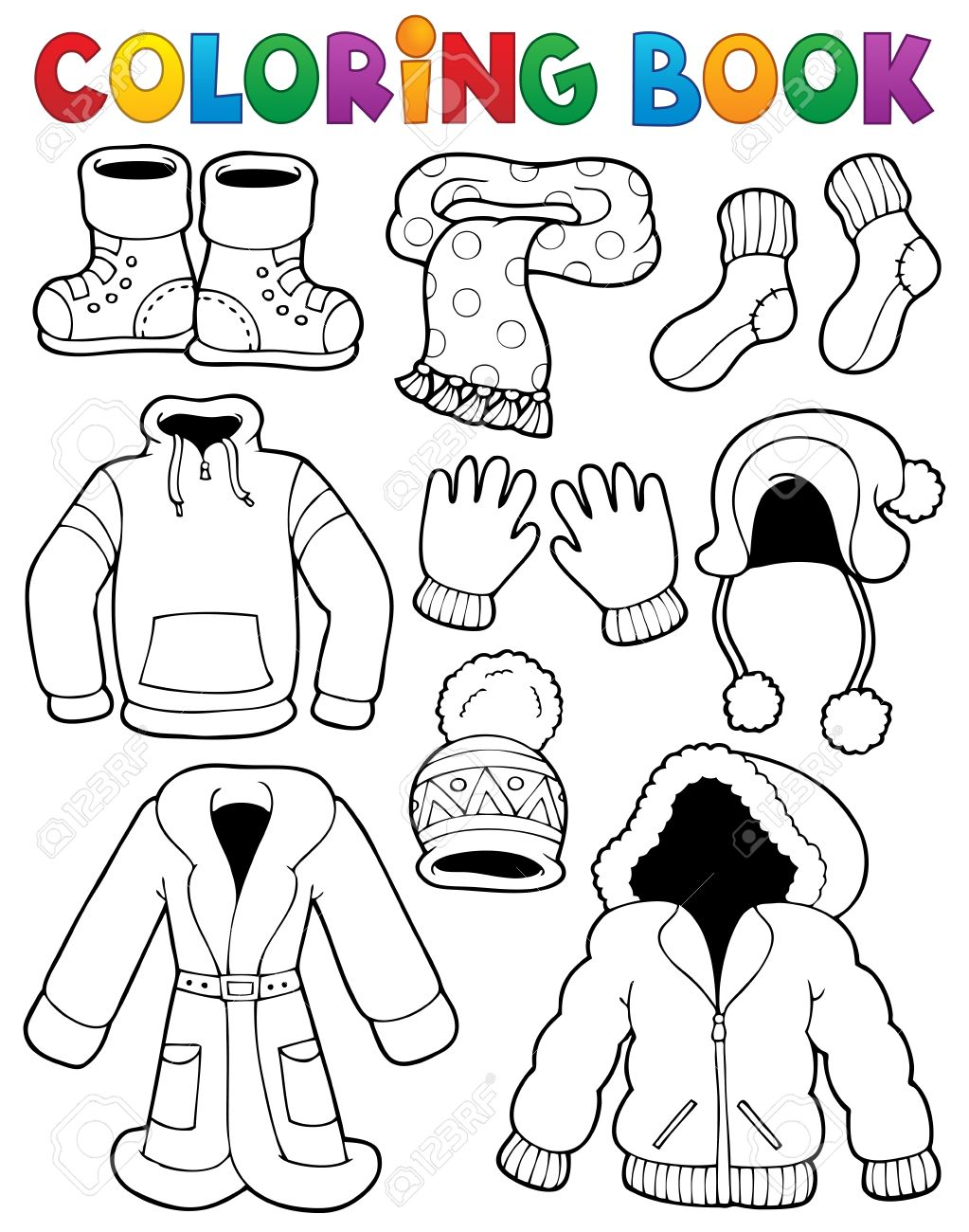 Coloring Book Clothes Theme Royalty Free Cliparts Vectors And