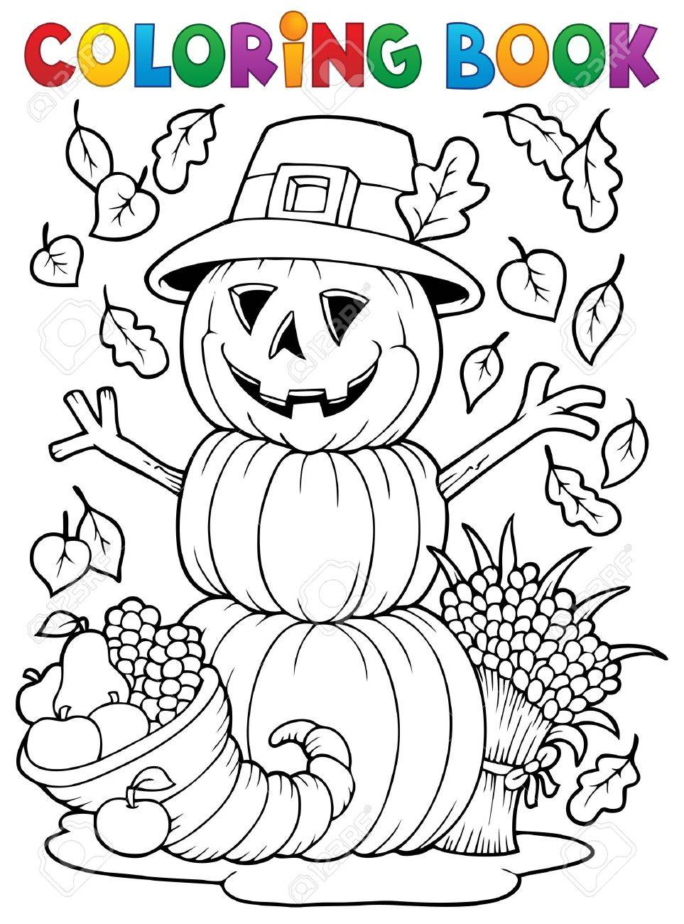 Coloring book Thanksgiving image Stock Vector - 22502236