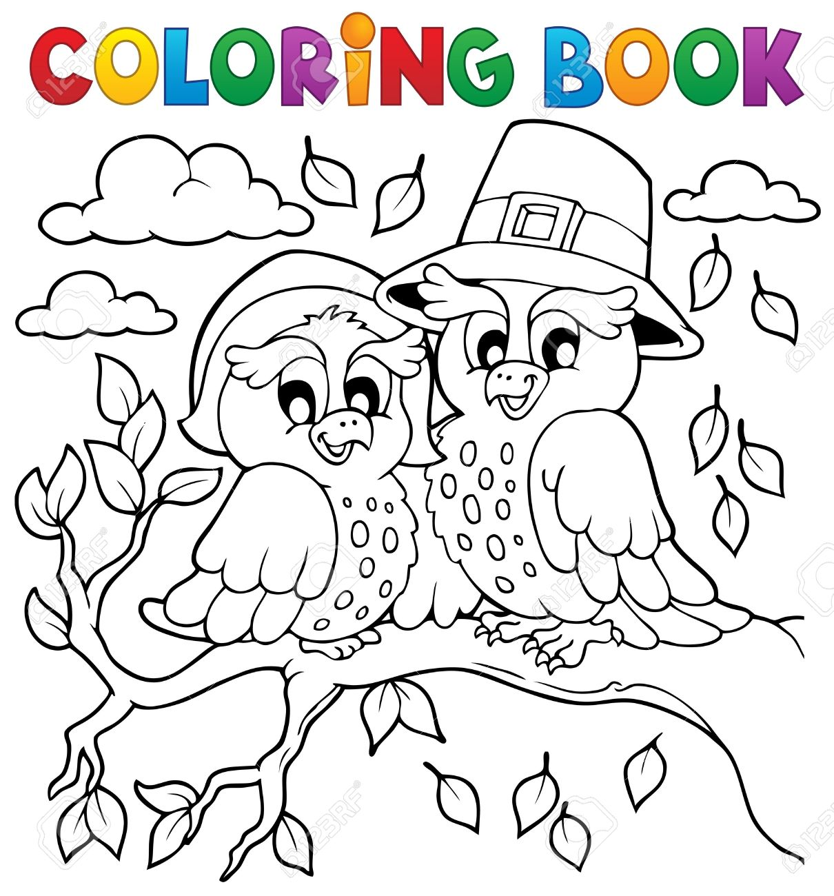 Coloring Book Thanksgiving Image Royalty Free Cliparts, Vectors, And ...