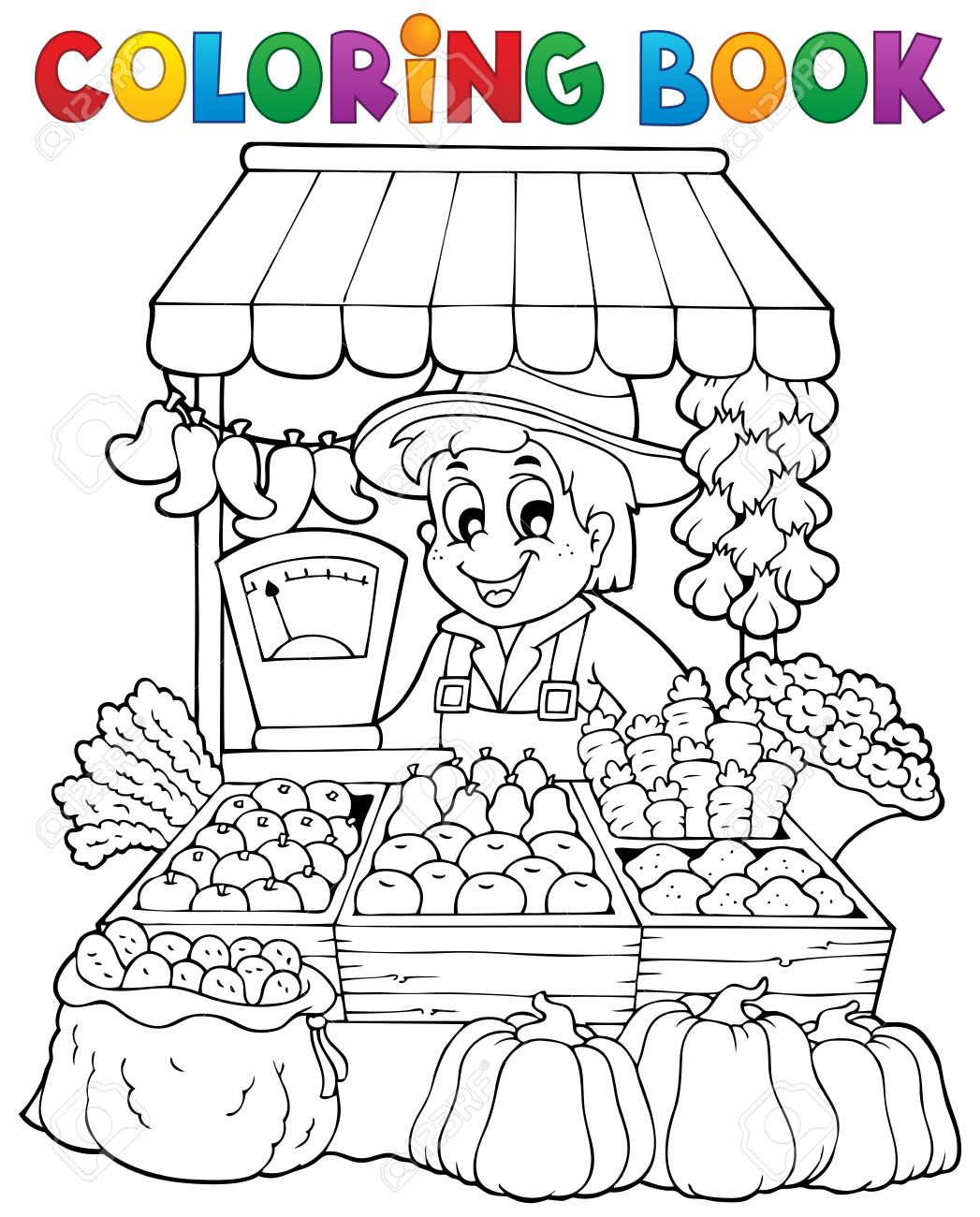 Coloring Book Farmer Theme 2 - Eps10 Vector Illustration Royalty ...