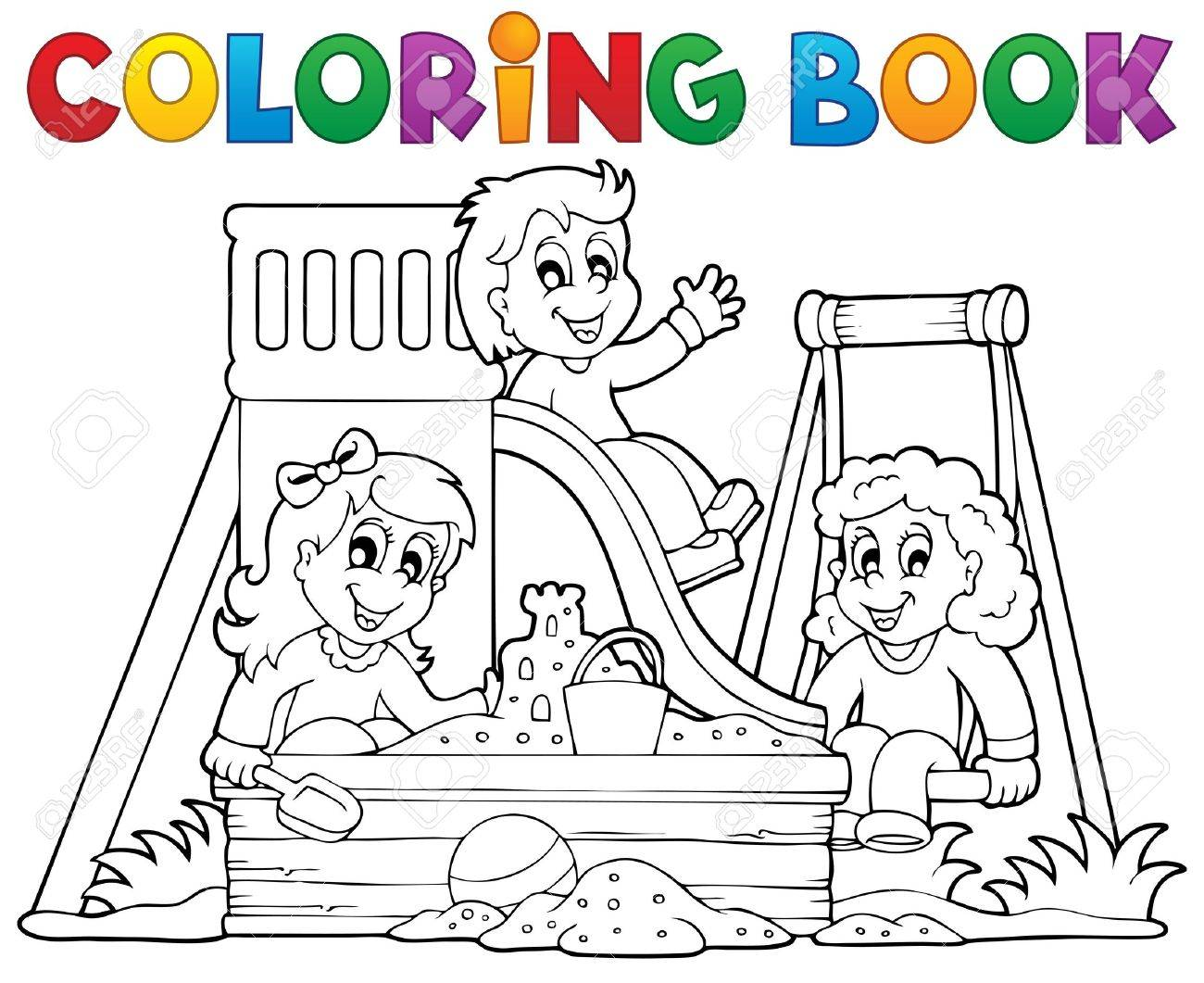 Coloring book playground theme 1 - eps10 vector illustration Stock Vector - 22867100