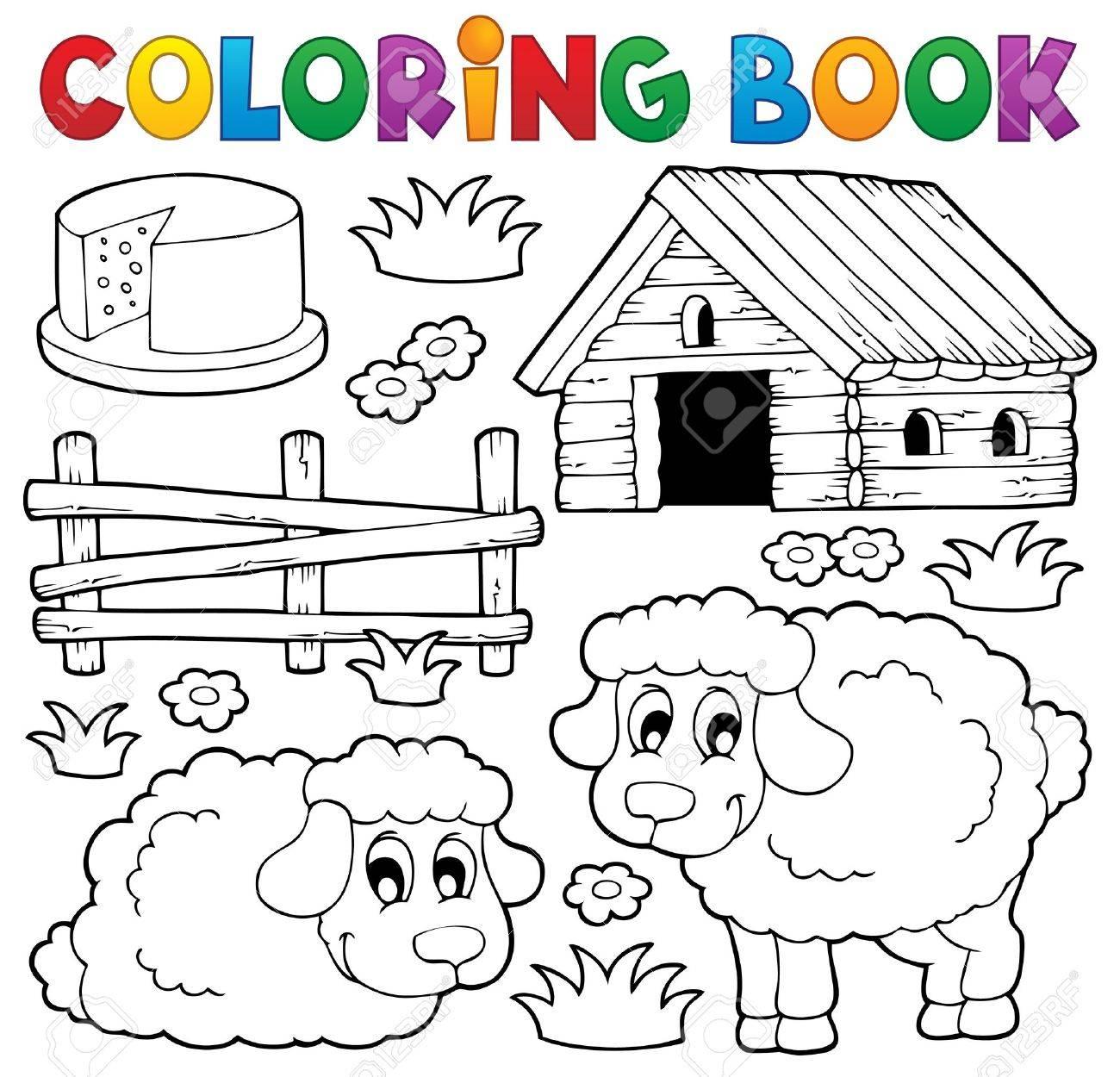 Coloring book sheep theme 1 - eps10 vector illustration Stock Vector - 22867096