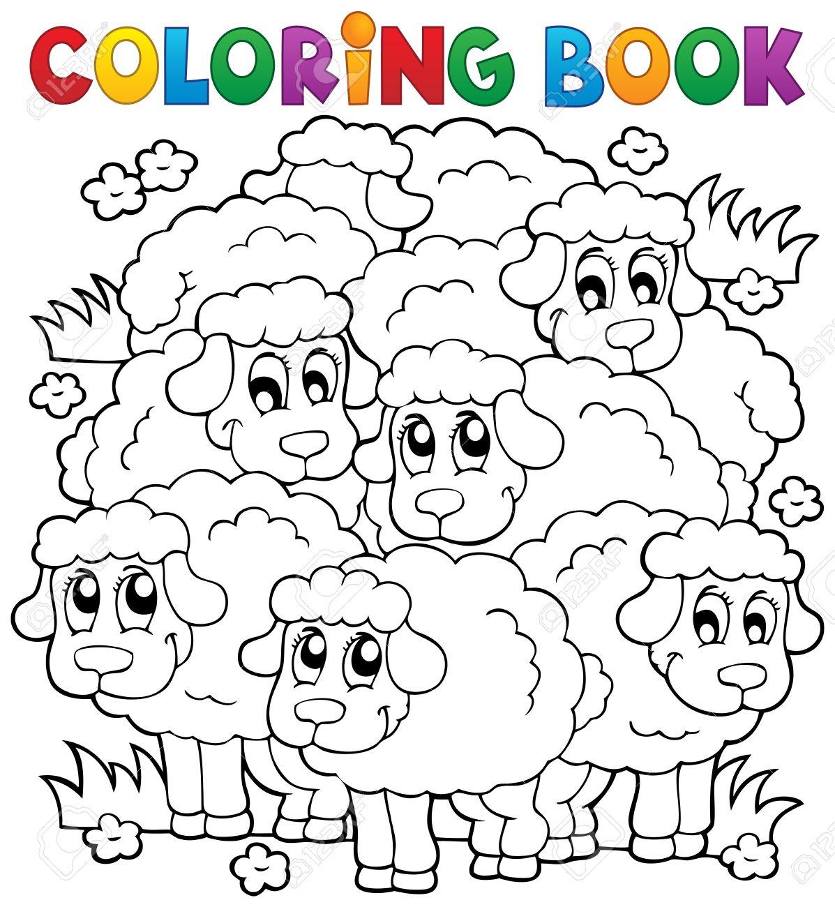 Libro Para Colorear Ovejas Tema 2 - Ilustración Vectorial Eps10 ...