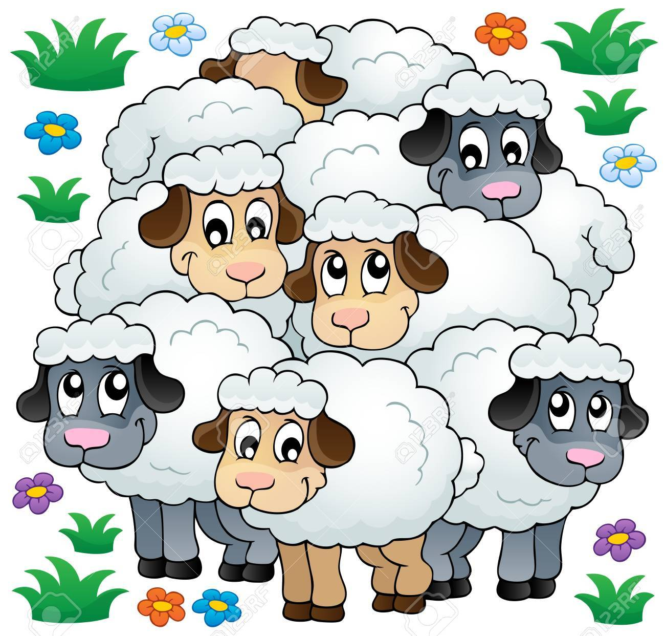 Sheep Flock Drawing Sheep Theme Image 3 Eps10