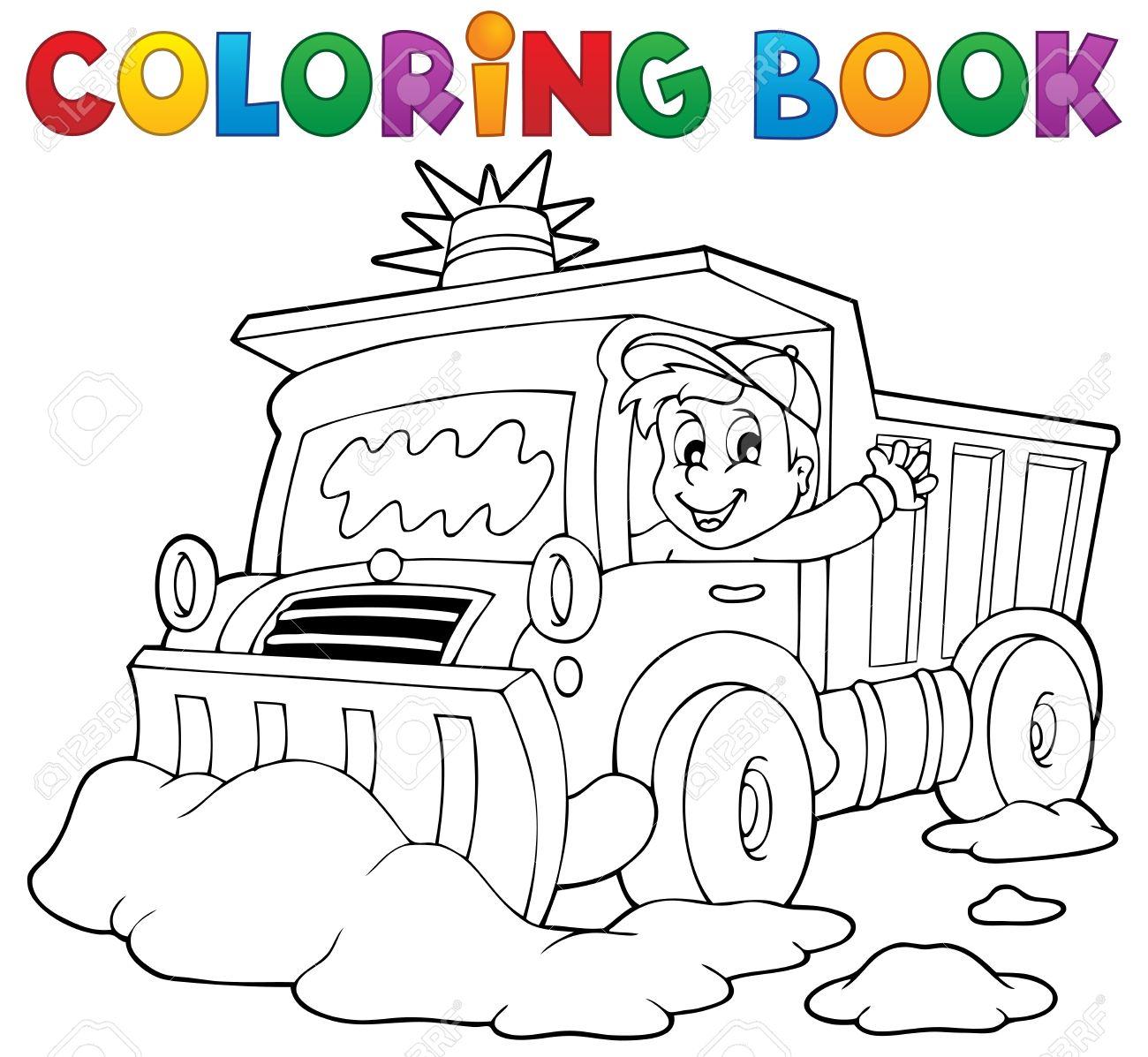Coloring book snow plough Stock Vector - 23394072