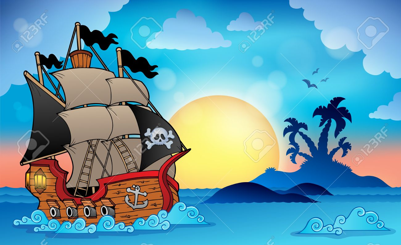 Pirate ship near small island Stock Vector - 23397672