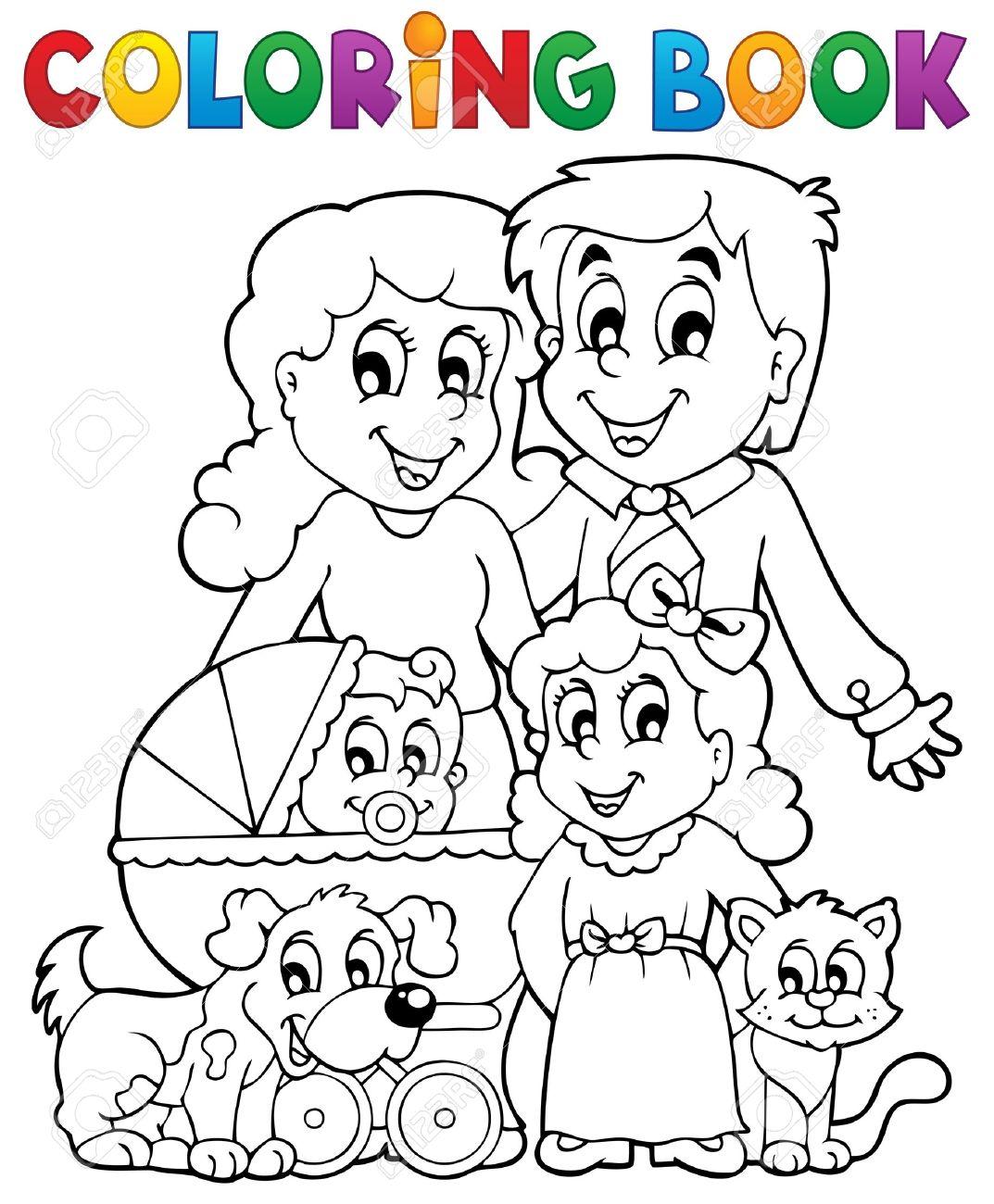 Coloring Book Family Theme Stock Vector