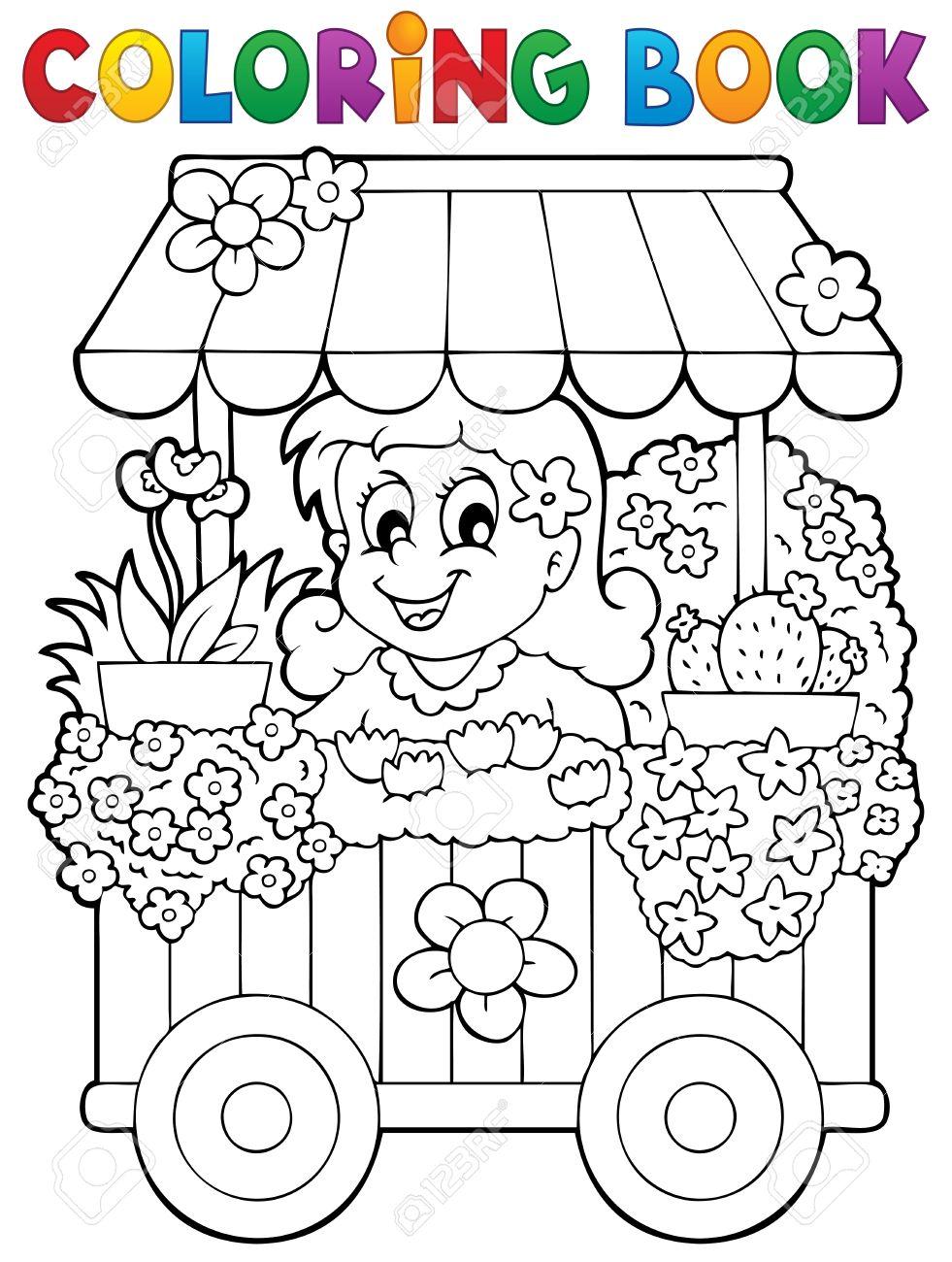 Libro Para Colorear Flores Tienda De Tema 1 - Ilustración Vectorial ...