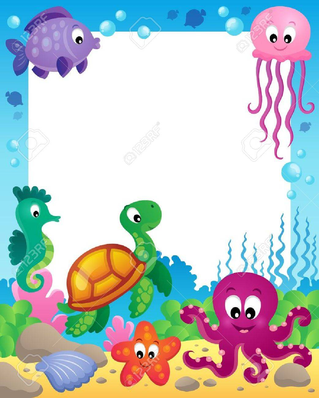 frame with underwater animals royalty free cliparts vectors and