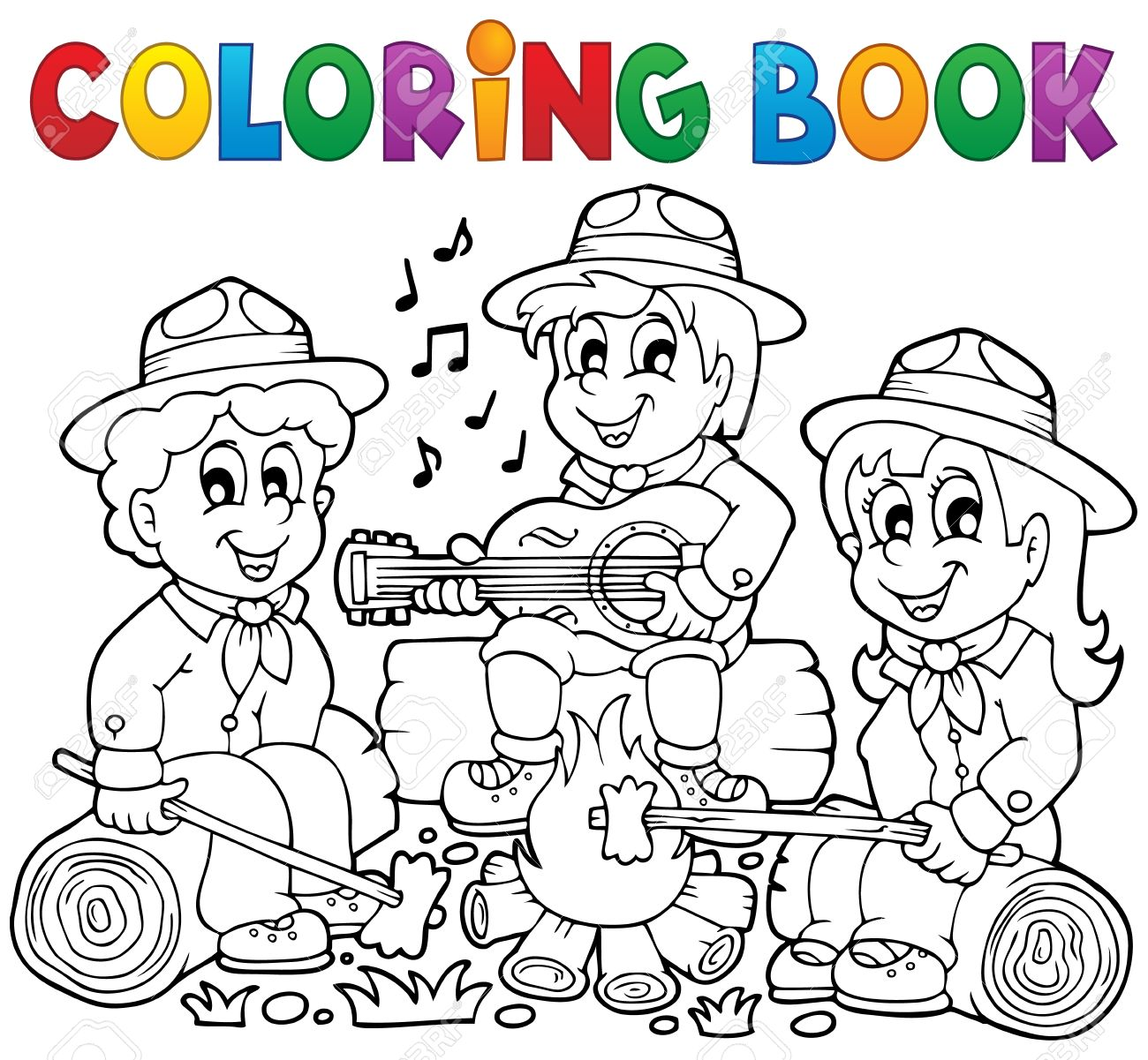 Libro Para Colorear Explora El Tema 1 - Ilustración Vectorial Eps10 ...