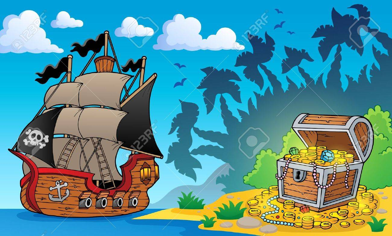 Pirate theme with treasure chest 1 - eps10 vector illustration Stock Vector - 27507669