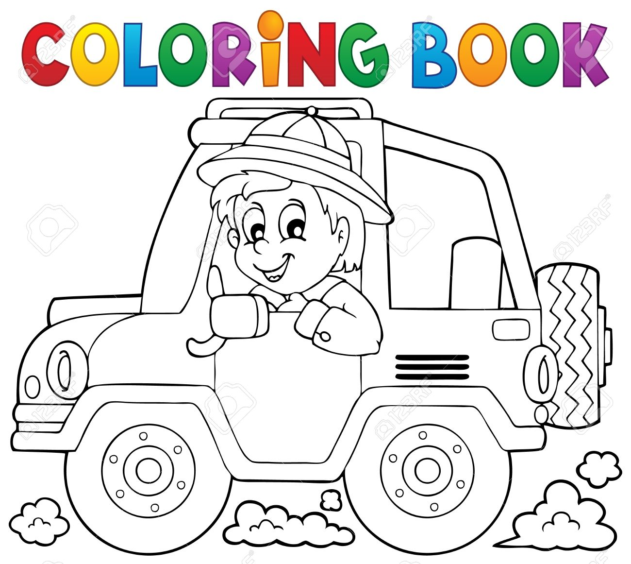 Coloring Book Car Traveller Royalty Free Cliparts, Vectors, And ...