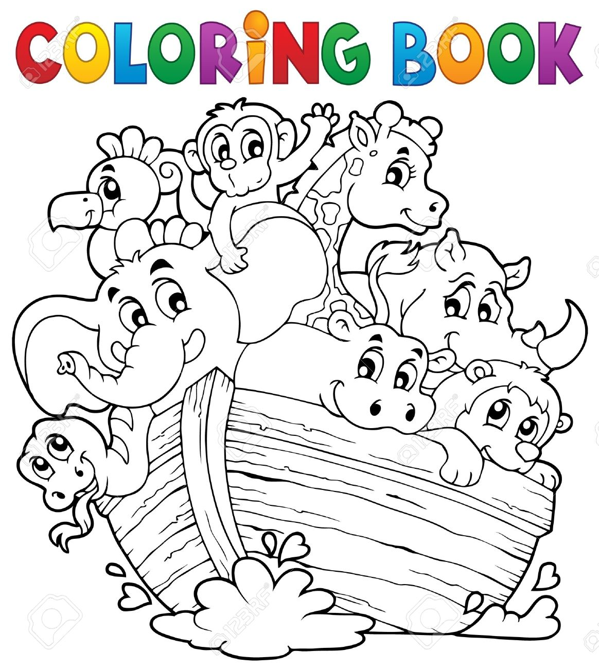 Coloring book Noahs ark Stock Vector - 28029345