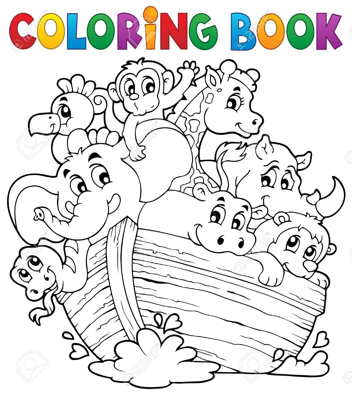 Libro Para Colorear Arca De Noé Ilustraciones Vectoriales Clip Art Vectorizado Libre De Derechos Image 28029345