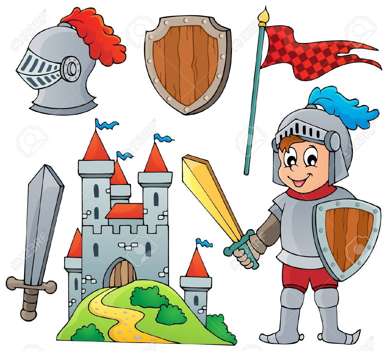 Knight theme collection Stock Vector - 28029381