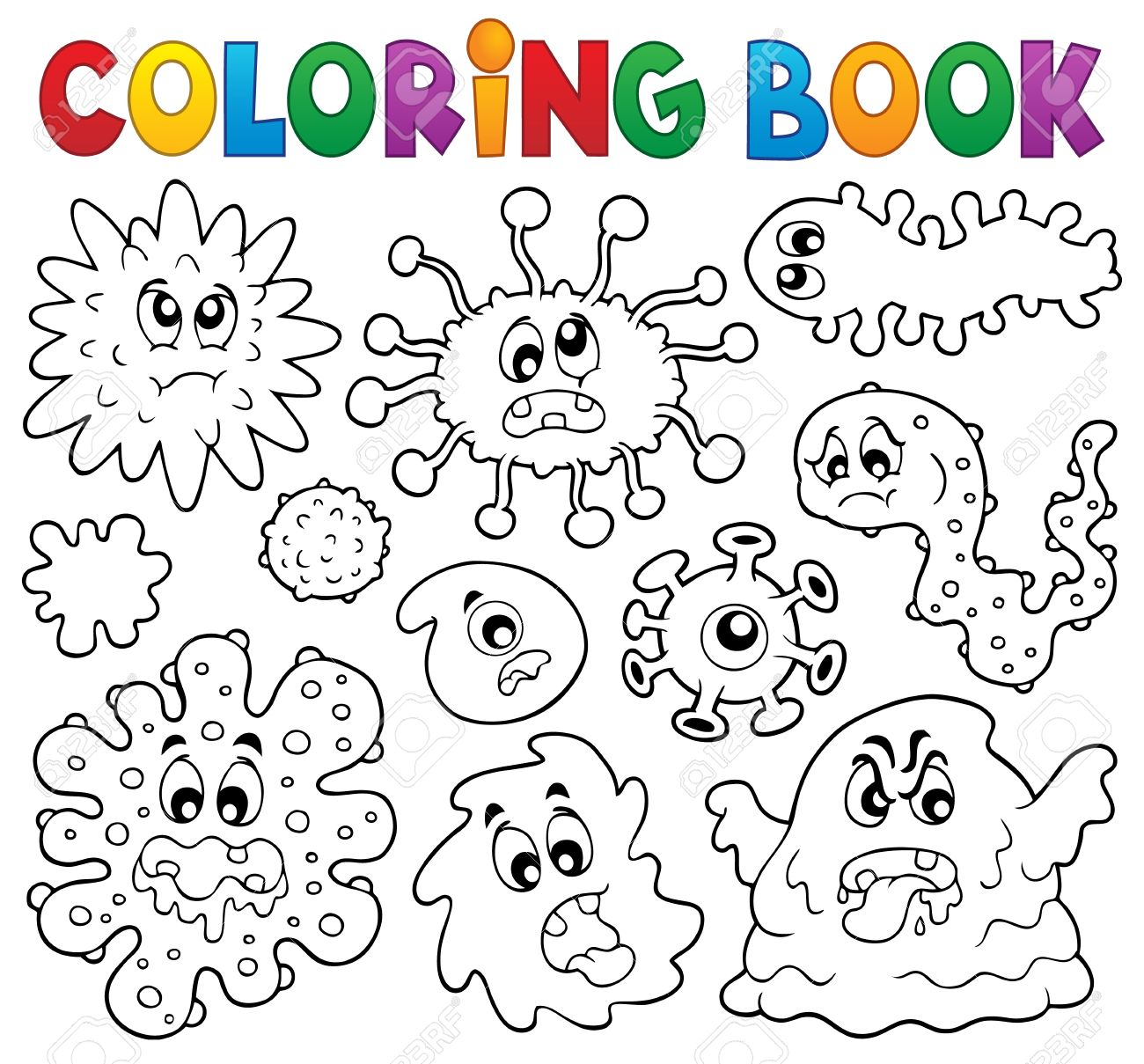 Coloring Book Germs Theme Illustration Royalty Free Cliparts ...