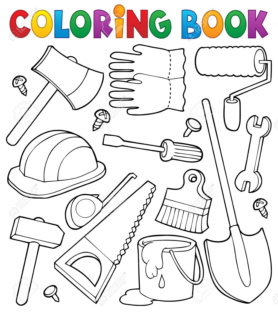 Coloring Book Tools Theme Illustration Stock Vector