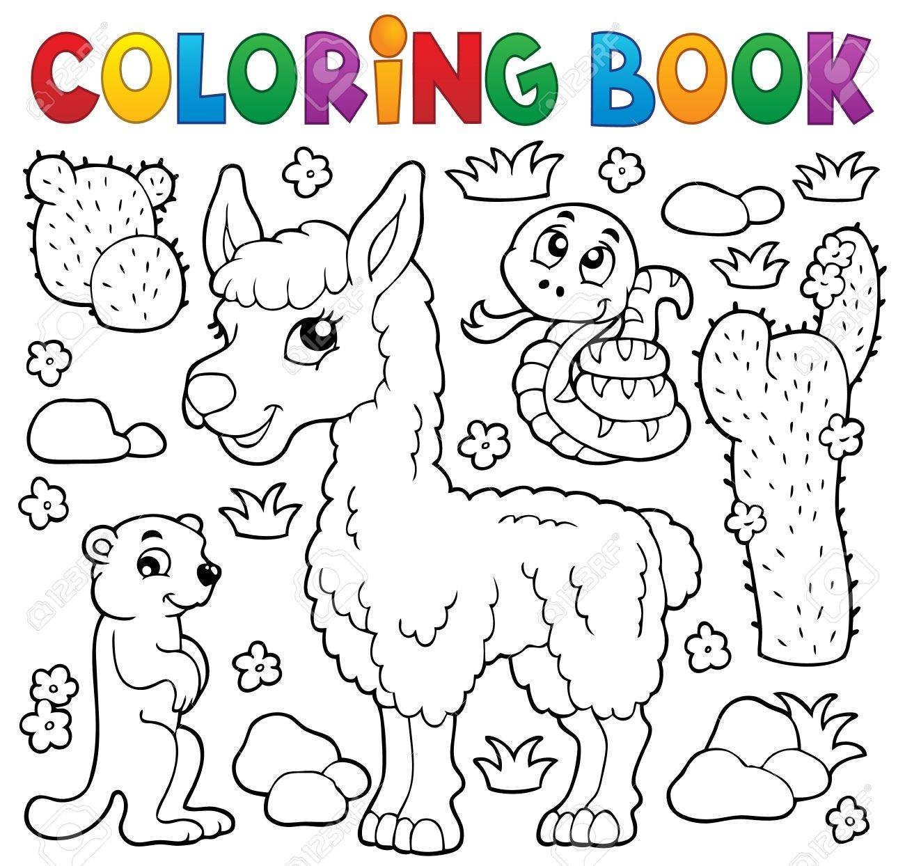 Coloring Book With Cute Animals Illustration Stock Vector