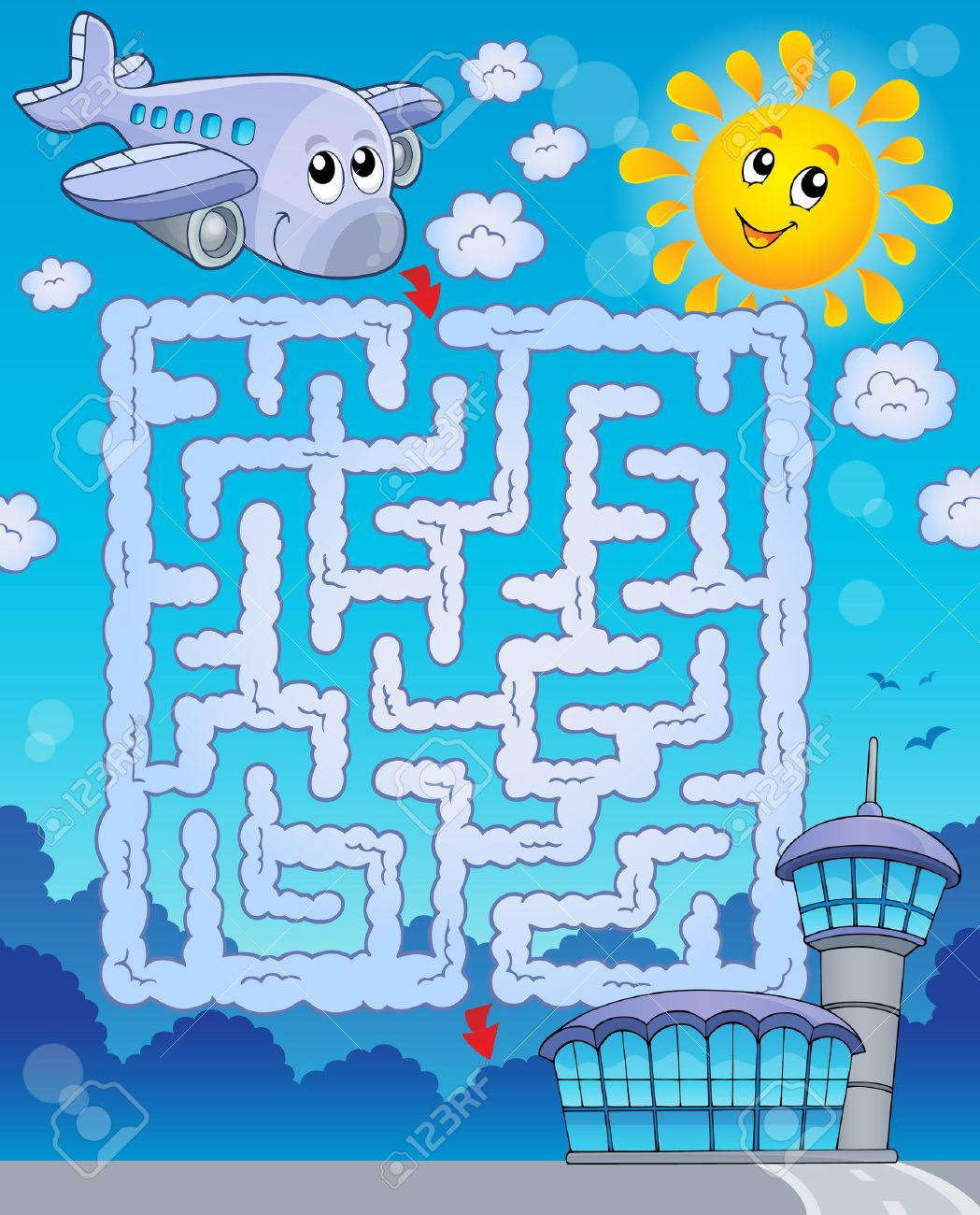 Maze 2 with airplane - eps10 vector illustration Stock Vector - 29907911