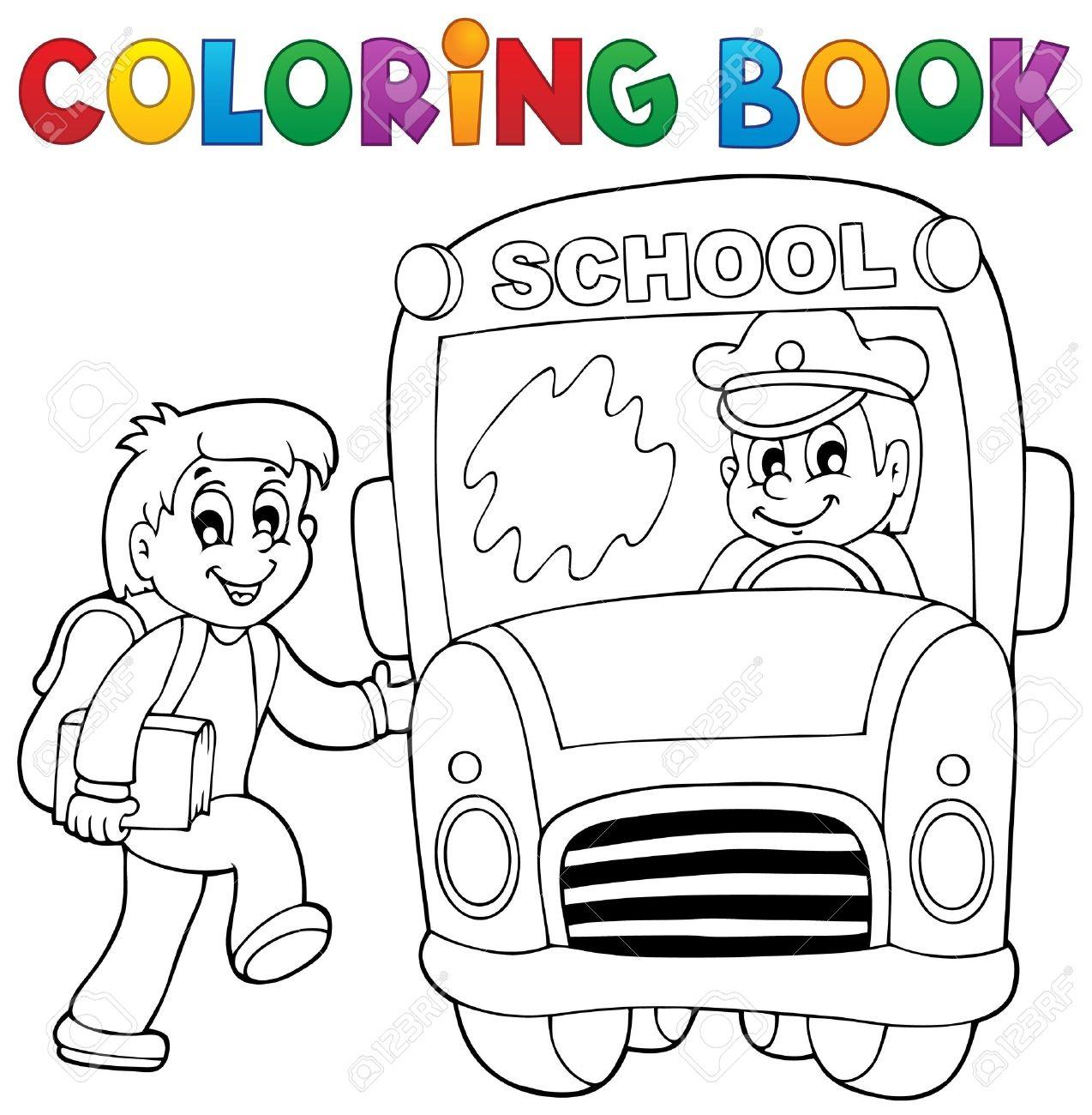 Bus Para Colorear Tema De La Escuela Libro 2 Ilustración Vectorial Eps10