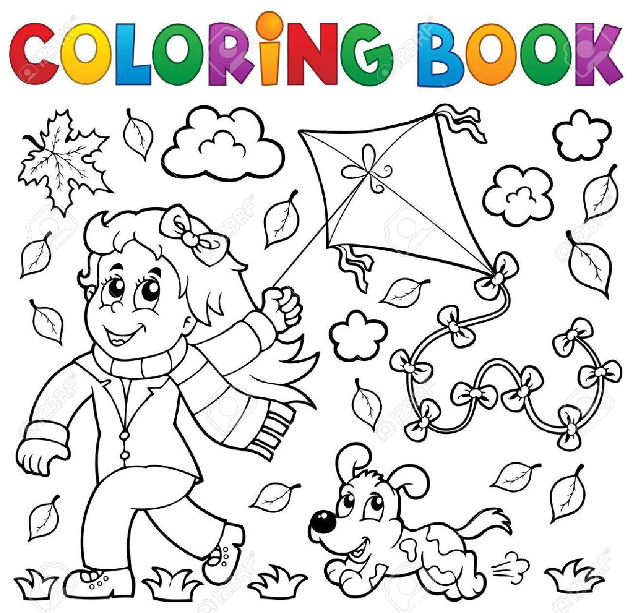 Libro Para Colorear Con La Chica Y La Cometa - Ilustración Vectorial ...