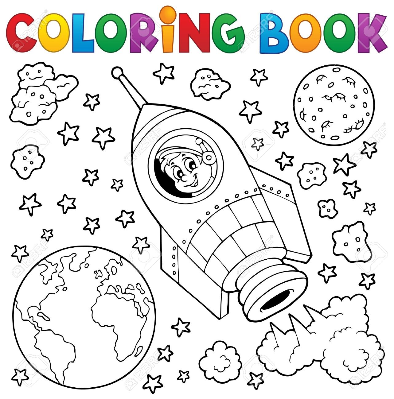 Coloring Book Space Theme 1 - Eps10 Vector Illustration. Royalty ...