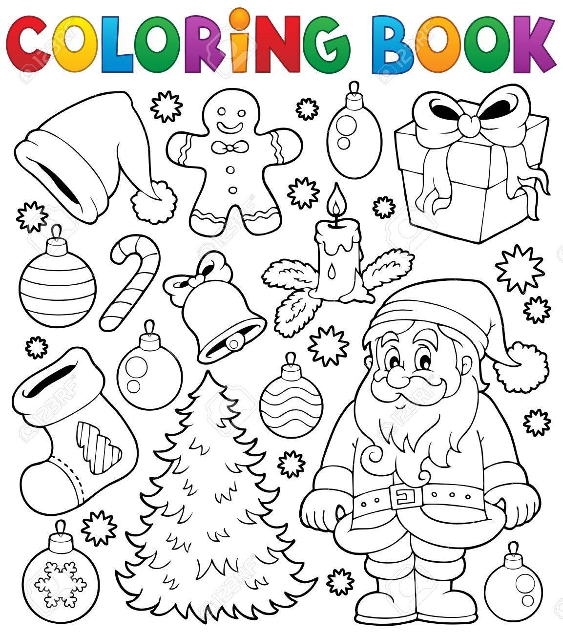 Libro Para Colorear De Navidad Temáticas 4 Ilustraciones Vectoriales ...