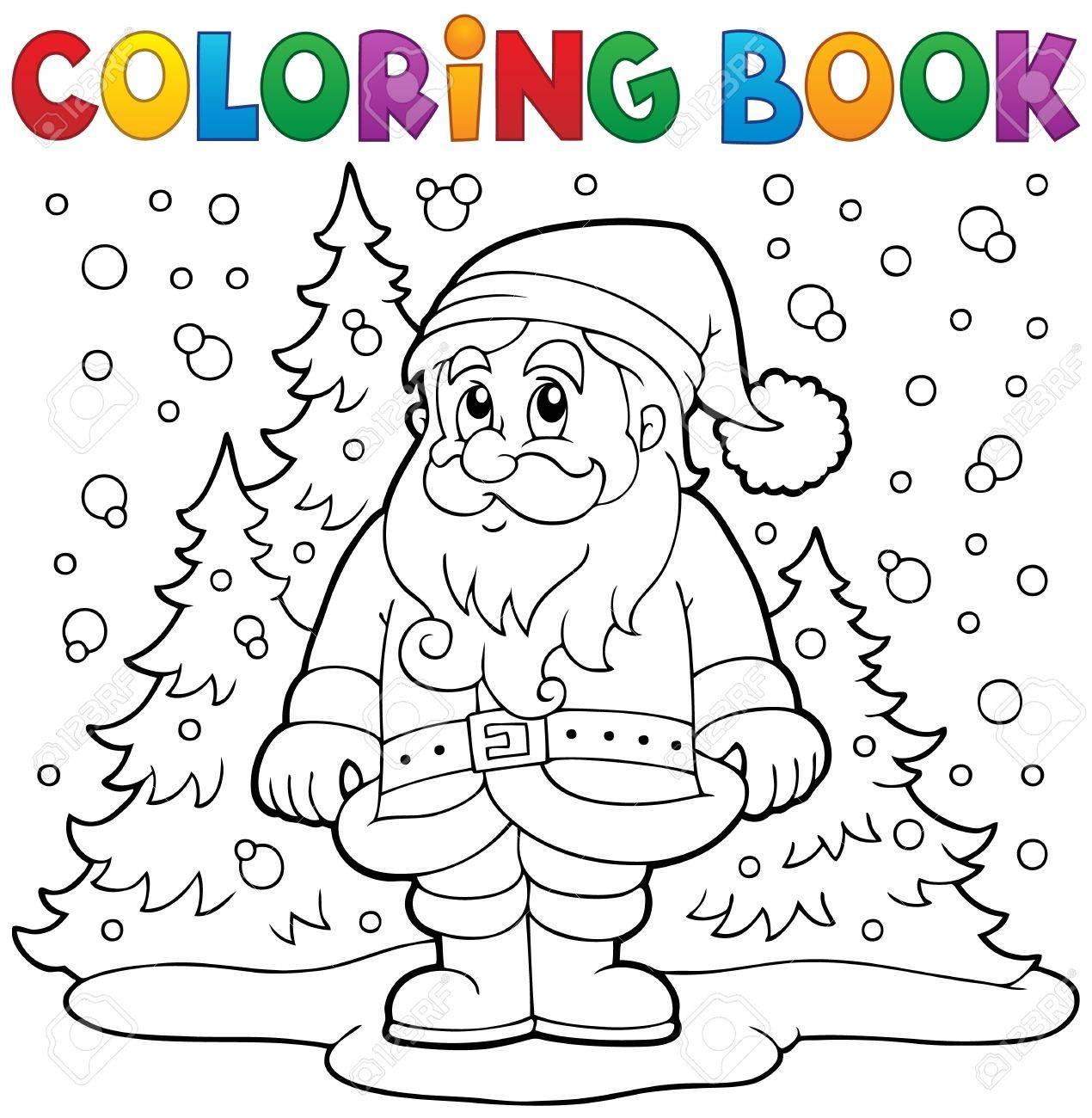 coloring book santa claus in snow 3 stock vector 34569266 - Coloring Book Santa Claus