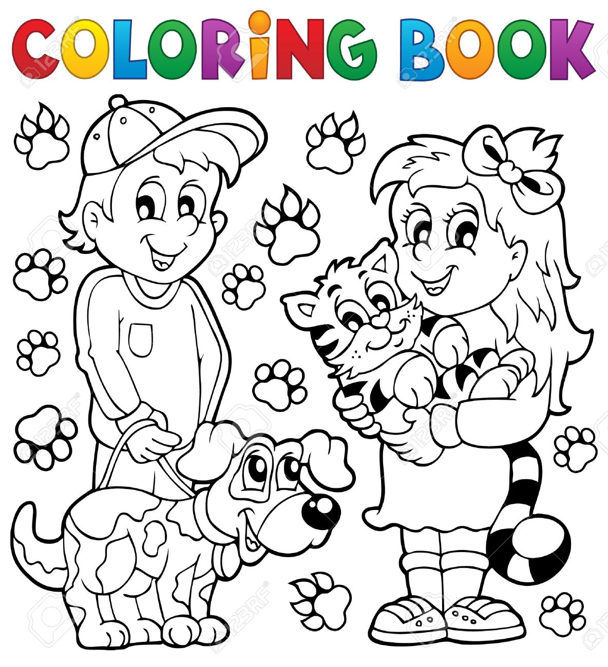 Coloring book children with pets stock vector 35432404