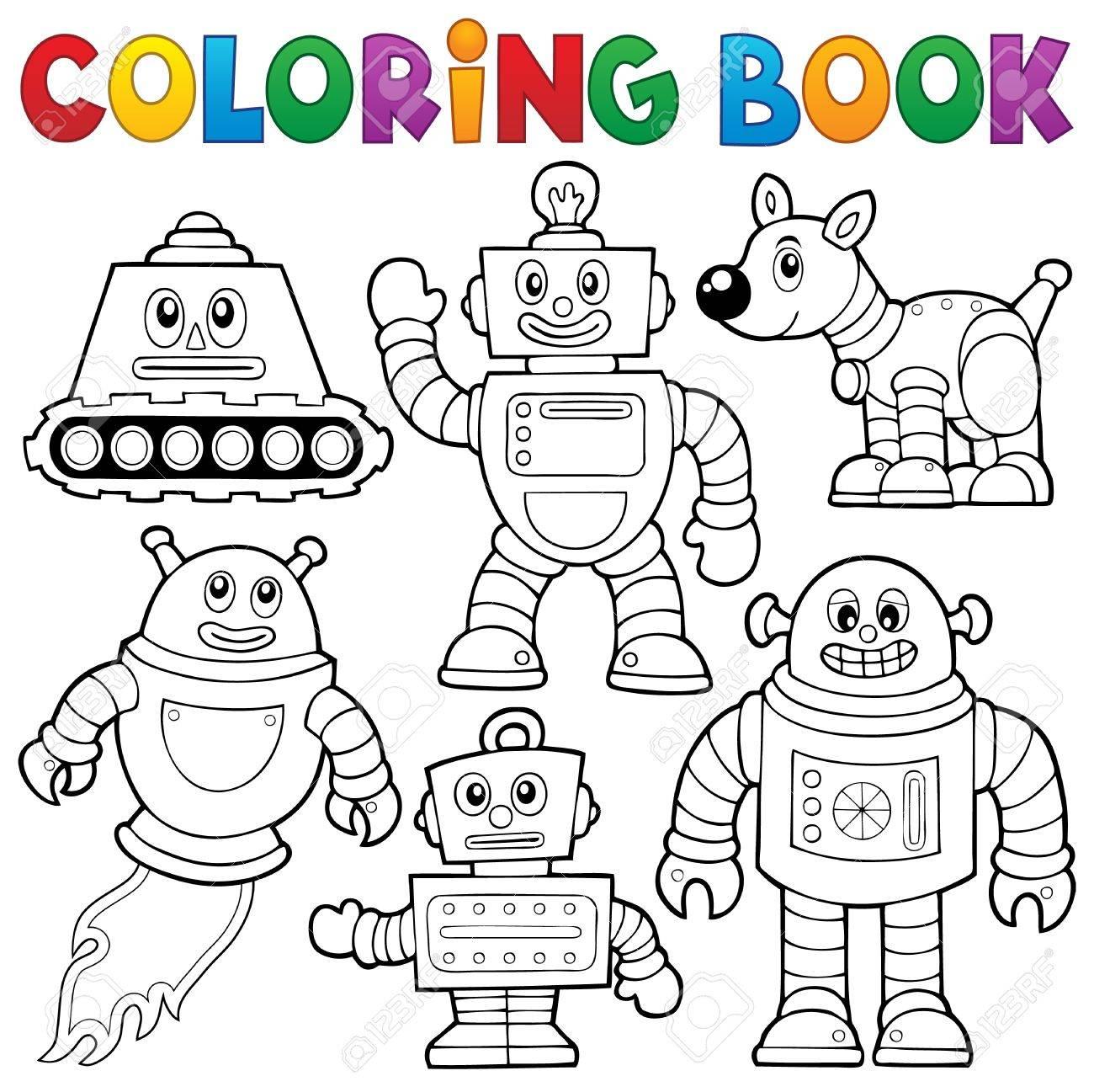 Coloring Book Robot Collection Stock Vector
