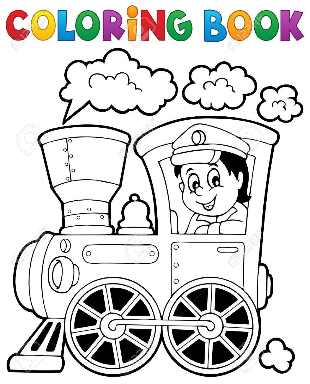 Coloring Book Train Theme Stock Vector